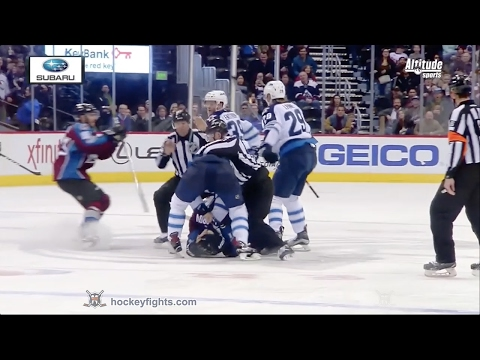 Nikita Zadorov hits Mark Scheifele; Jacob Trouba vs Zadorov Feb 4, 2017