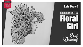 Beautiful Floral Girl l Doodle Art l Easy Drawing