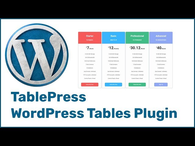 TablePress - WordPress Tables Plugin To Create Responsive Tables 2018