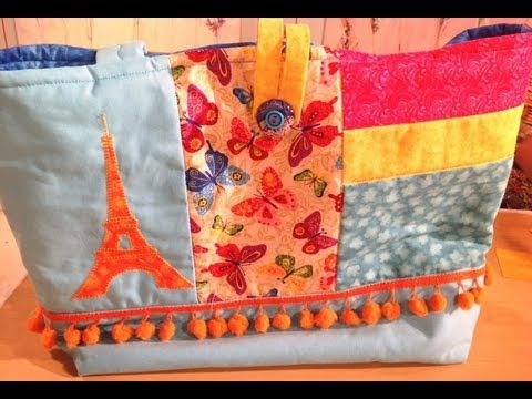 como hacer patchwork en un bolso para playa youtube
