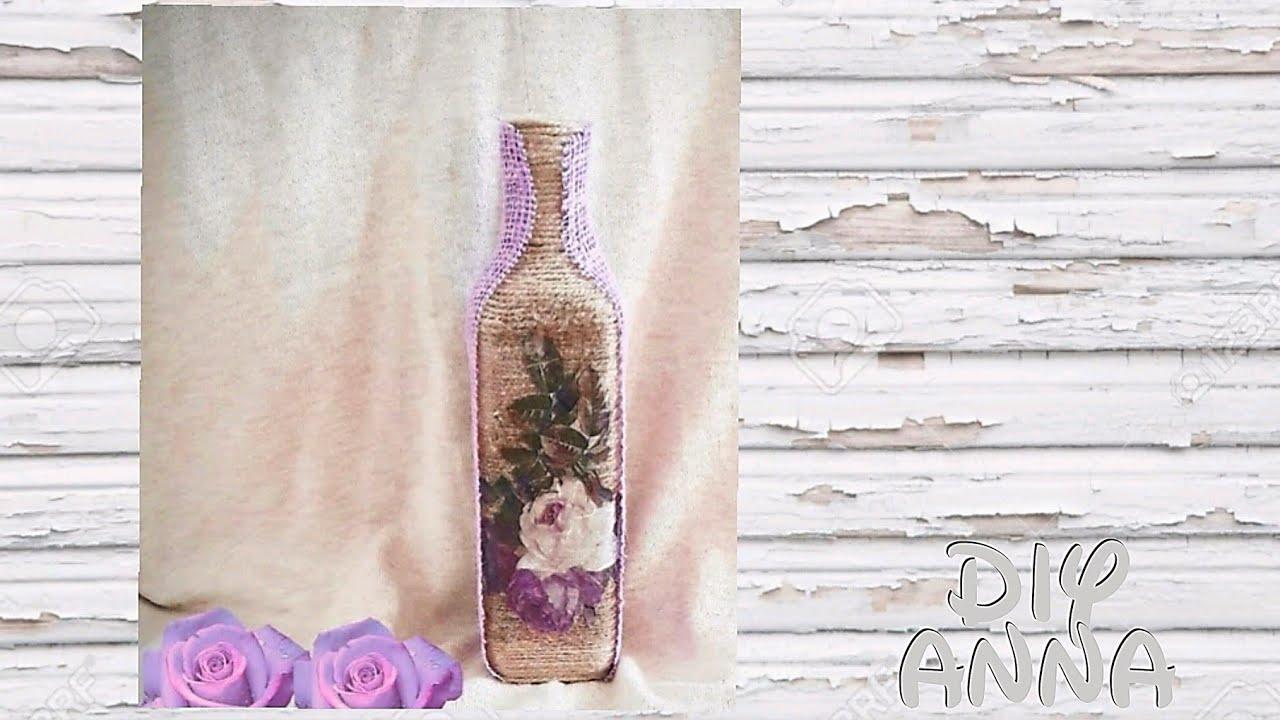 decoupage shabby chic yarn bottle DIY ideas decorations ...