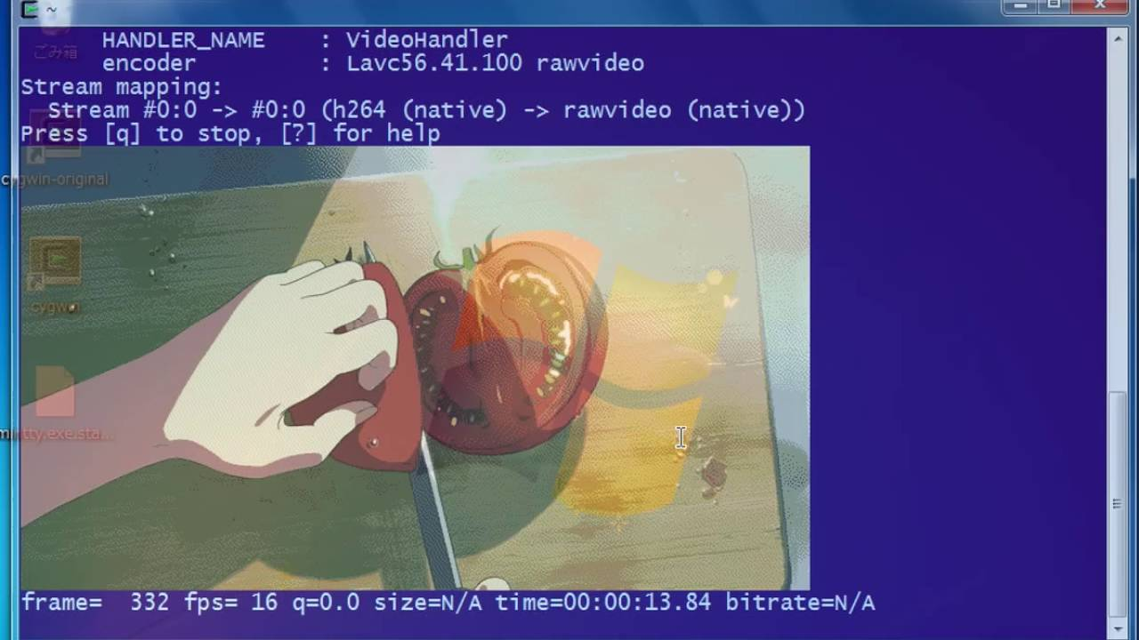 FFmpeg-SIXEL test on mintty