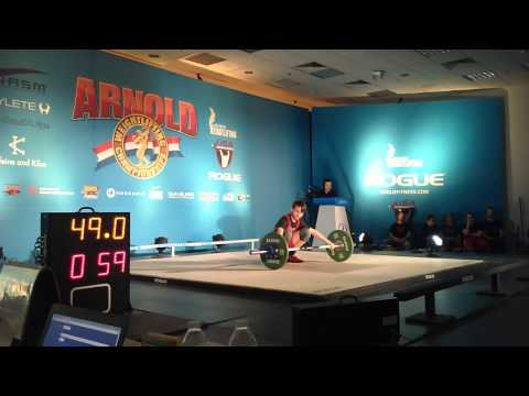 Kyle Holman (56kg lifter) 3rd snatch attempt. Arnold 2015