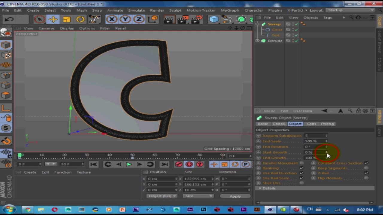 Cinema 4D Tutorial | How to make animation spline on Text ( Sweep Extrude  and Text)