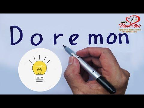 Viết chữ Doremon thành tranh chào mừng năm học mới | Truyện Doraemon | ART Hạnh Phúc