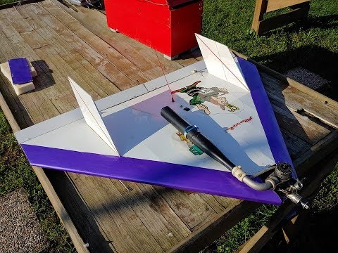 Protech Laser Arrow Flying Wing 1000mm With Rossi 45 Glow Engine Test Run