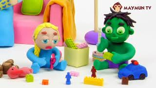 Baby Hulk needs Teddy bear Stop Motion Play Doh Cartoon for children