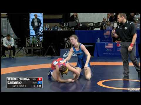 55 Rnd of 16 - Rebekah Cordova (Wayland Baptist University) vs. Gabriellle Weyhrich (McKendree Be...