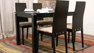 Baxton Studio Lambert Dark Brown 5 Piece Modern Dining Set