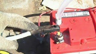 V2-Восстановление клеммы АКБ, пайка угольным стержнем из батарейки