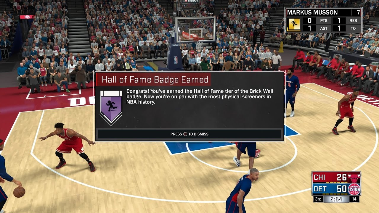 Nba 2k17 Badge Tutorial Unlock Hall Of Fame Brick Wall Badge Youtube