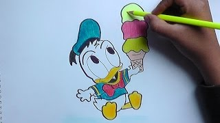 Cómo Dibujar a Pato Donald bebé (Mickey Mouse) - How to Draw Donald Duck drink