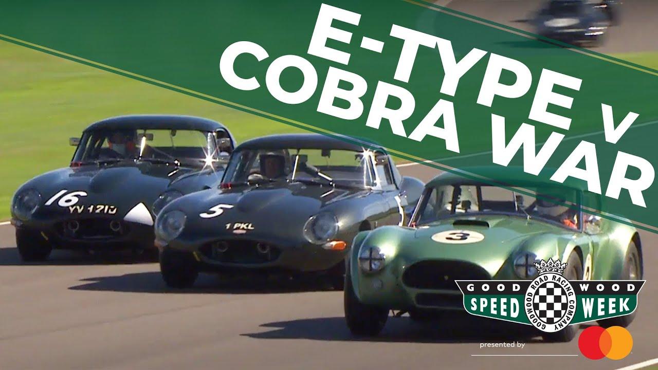 Video: Jaguar E-Types vs AC Cobra battle at Goodwood