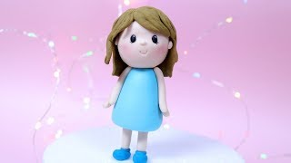 Simple Fondant Girl Cake Topper TUTORIAL! How to make a fondant girl / Cake decorating for beginners