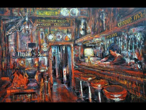 French cafe' in Argenton sur Creuse. Acrylics.