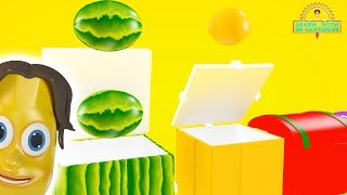 Colorful boxes with fruits and vegetables! LEARNING ENGLISH!