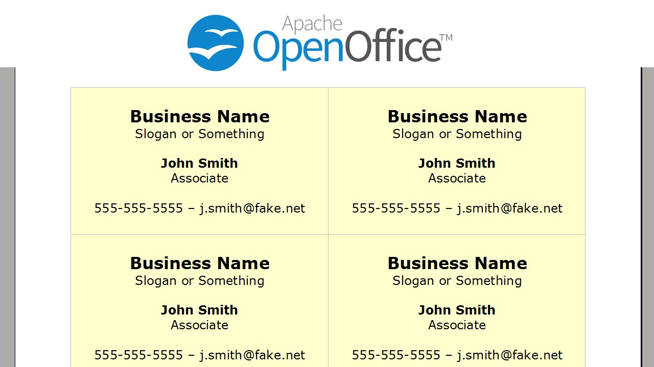 printing business cards in openoffice writer - Fake Business Cards