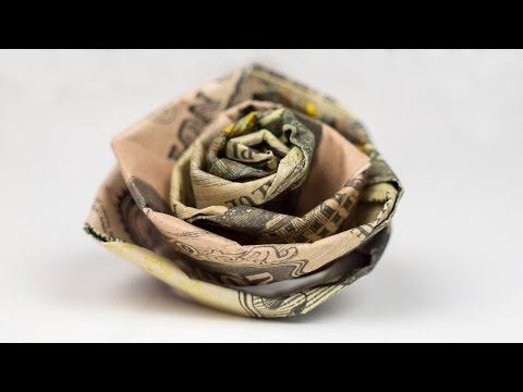 How To Make A Money Origami Rose Out Of Dollar Bills 🌹 EASY