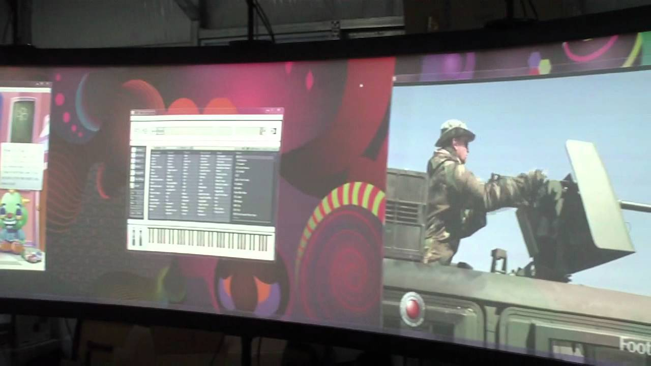 Huge 5760 X1080 Curved Desktop Display On 3 Projector Edge