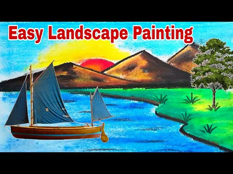 how to draw easy Landscape Painting tutorial step by step