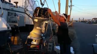 Re -Powering Gemini Catamaran 105MC with 50 hp Honda 4 stroke 25 inch shaft using Bob'Machine Shop