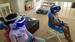 Playstation VR SURPRISE (kids try battlezone)