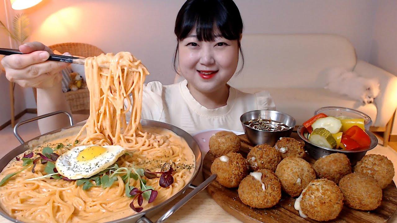 꾸덕한 소스 가득 명란로제파스타 돈까스 치즈볼 직접만든 피클 Rosé cream pasta Pork cutlet cheese balls Mukbang Eatingsound