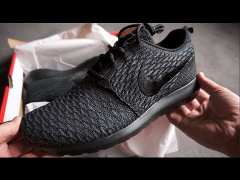 ca63d724a9f6 NIKE Flyknit ROSHE RUN NM (Black   Grey) - DEADSTOCK - unboxing on feet  review