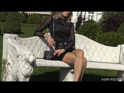 Super Legs - Leather skirt , Shiny pantyhose , Black Blouse , High heels -  ( Shiny Tights )