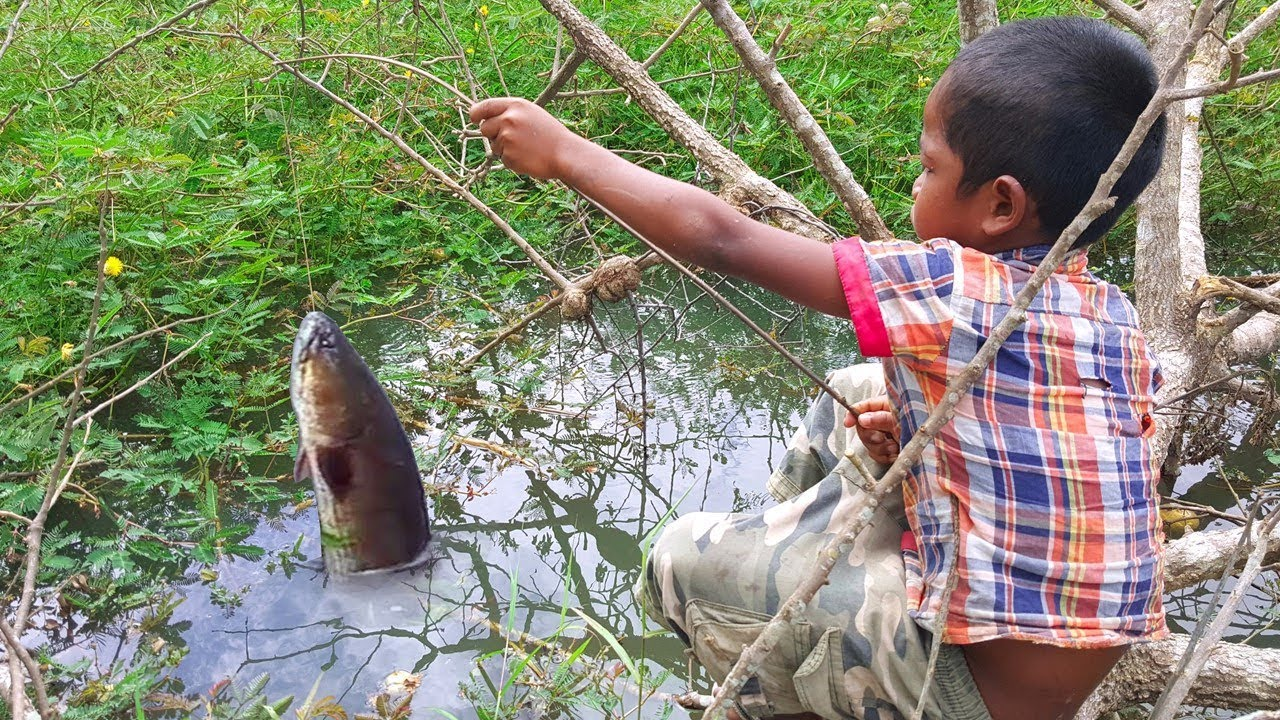 Amazing smart boy goes fishing to survive by himself for Big 5 fishing