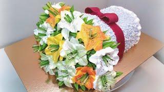 Торт Букет лилий крем БЗК Cake Bouquet of lilies protein custard