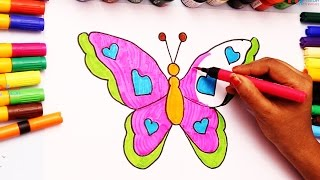 Teach Children How to Draw Butterfly Learning Colouring Video with Markers My Kids Rhymes