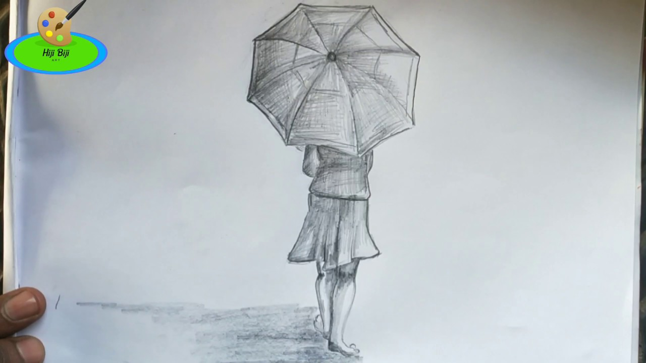 Umbrella girl drawing for kids drawing lonely girl step by step