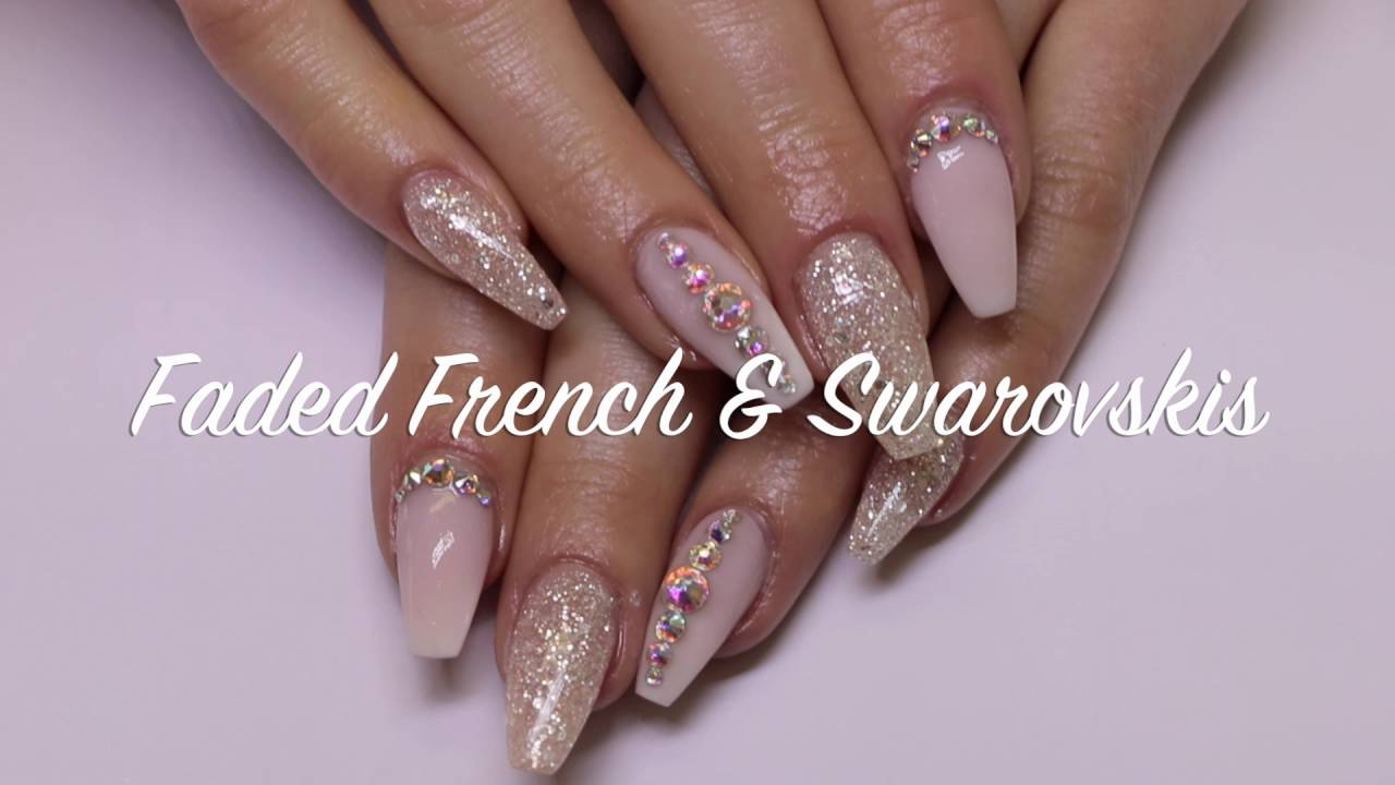 Acrylic Nail Design Faded French Swarovskis Youtube
