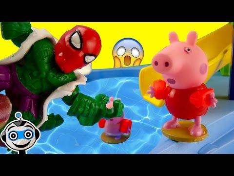 Terror en la piscina un lagarto persigue a peppa pig for Peppa pig en la piscina