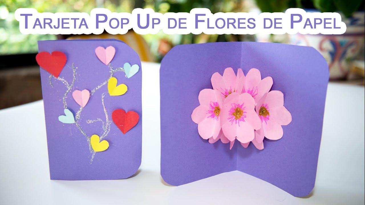 Como Hacer una Tarjeta Pop Up de Flores 3D de Papel YouTube