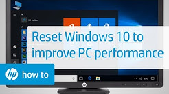 Resetting Windows 10 to Increase Computer Performance | HP Computers | HP