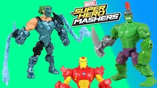 Marvel Super Hero Mashers Marvel's Whiplash with a Hulk head and hand has a battle with Iron Man!