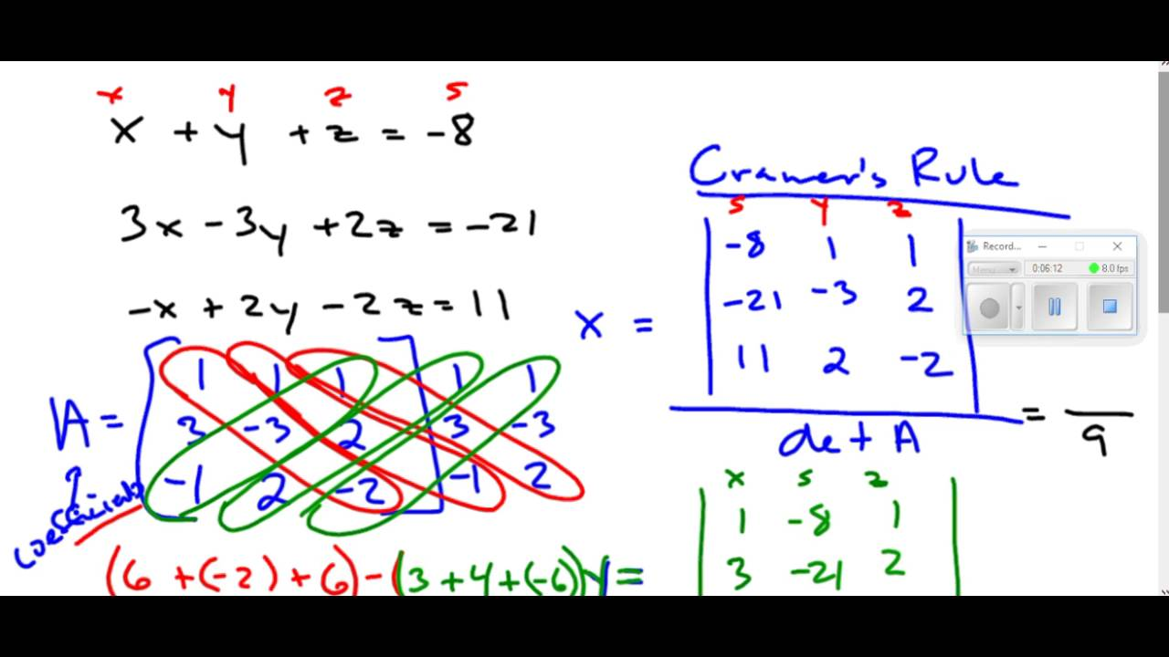Solving a Three Variable System Using Cramer's Rule - YouTube