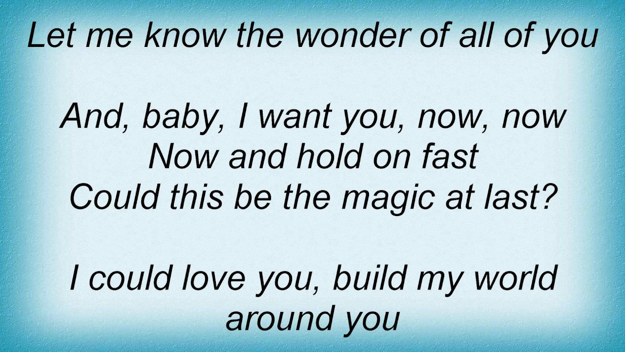 Barry Manilow Could It Be Magic Lyrics Youtube