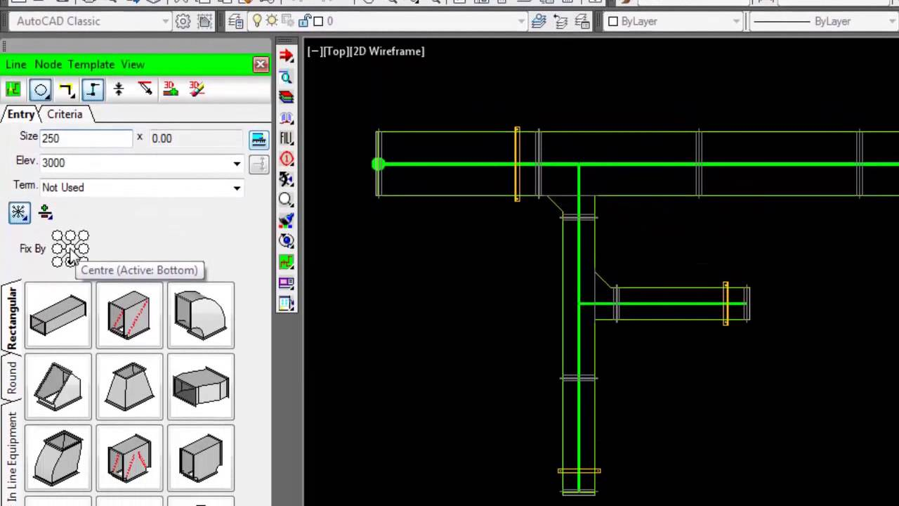 Autodesk Fabrication Cadmep Adding Branches Using Design Line Hvac Duct Drawing In Autocad