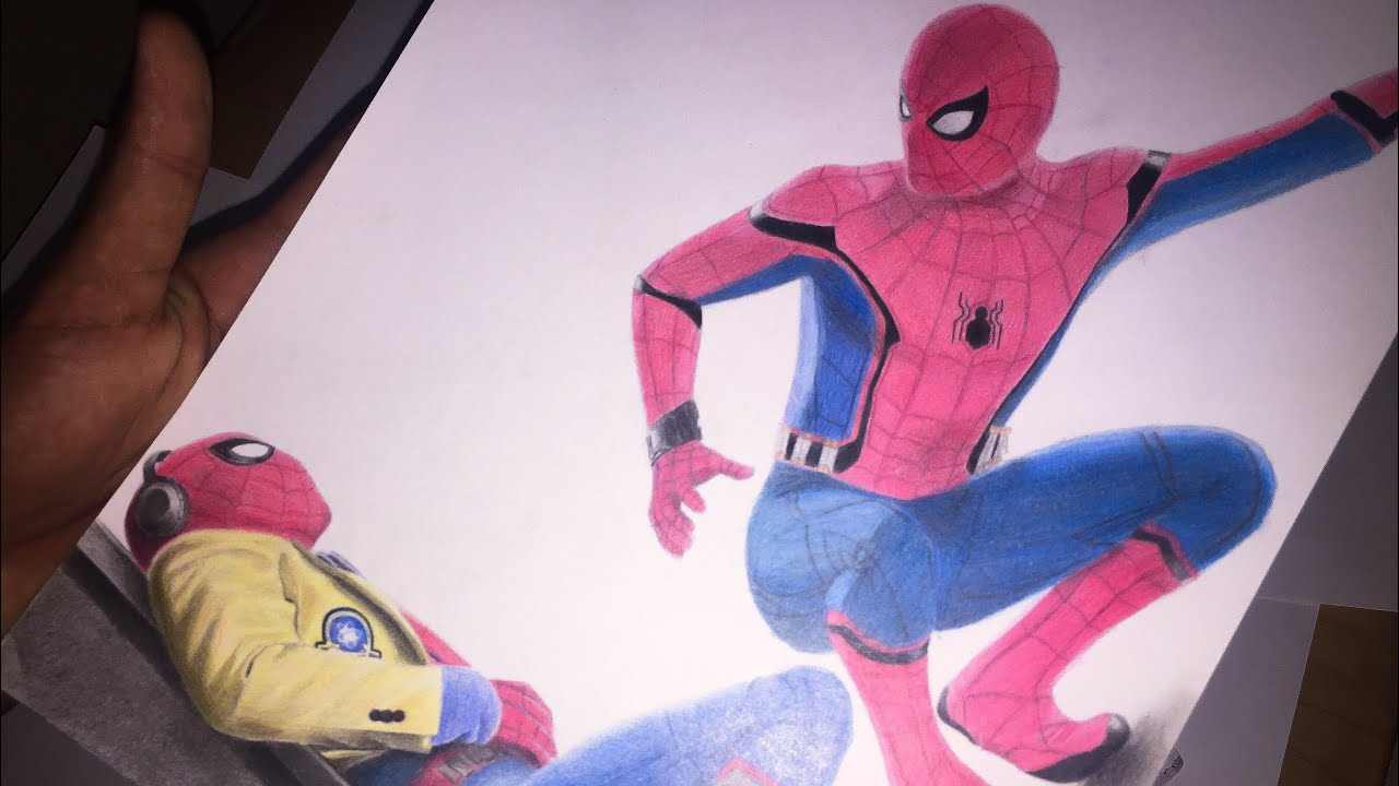 Speed Drawing Spider Man Infinity War Youtube