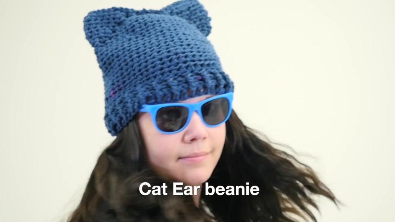 Crochet Cat Ear Beanie Youtube