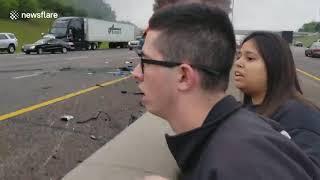 بالفيديو.. سائق مخمور يقتل سيدة ويتسبب في حوادث دامية