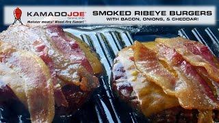 Kamado Joe Smoked Ribeye Burgers