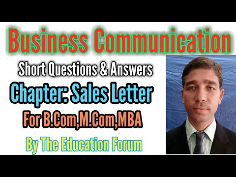 Sales Letter Short Questions Answers Of Business Communication For