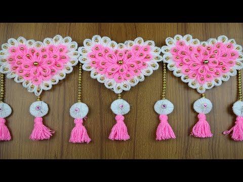 How to Make Door Hanging Toran   Woolen Craft ideas - Best out of waste - waste material craft ideas