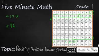 1st Grade Math Reciting Numbers Forward and Backward