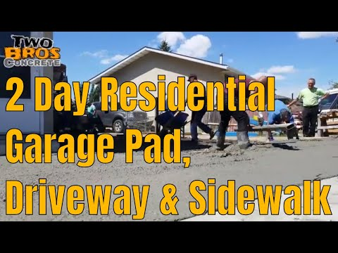 2 Day Residential Concrete Garage Pad, Driveway And Sidewalk Edmonton Cement Contractor