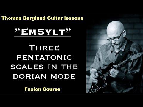 "Em sylt ""Three pentatonic scales in the dorian mode"" - Fusion Guitar lesson"
